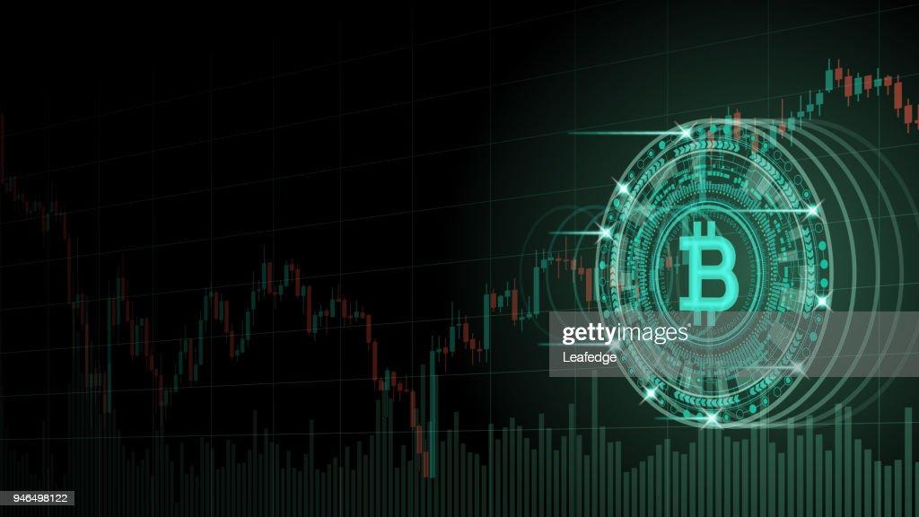 Cryptocurrency コンセプト [Bitcoin と仮想空間内のグラフ] : ストックイラストレーション