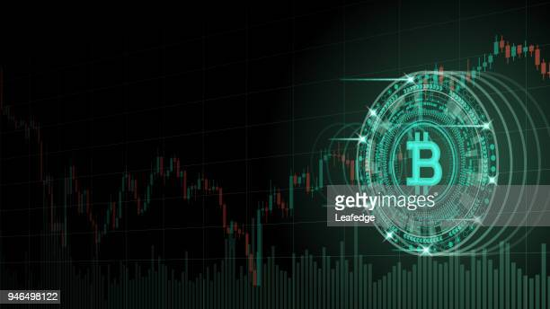 cryptocurrency concept [bitcoin and chart in virtual space] - cryptocurrency stock illustrations
