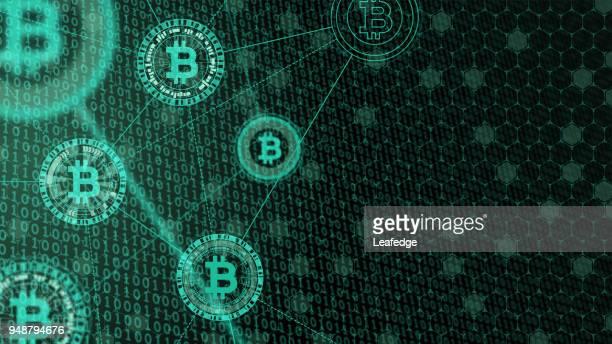 cryptocurrency コンセプト [バイナリ コードの bitcoin] - ブロックチェーン点のイラスト素材/クリップアート素材/マンガ素材/アイコン素材