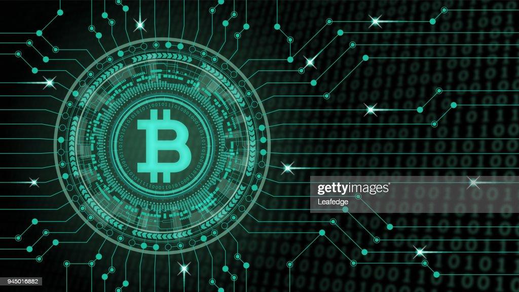 Cryptocurrency コンセプト [仮想空間における Bitcoin] : ストックイラストレーション