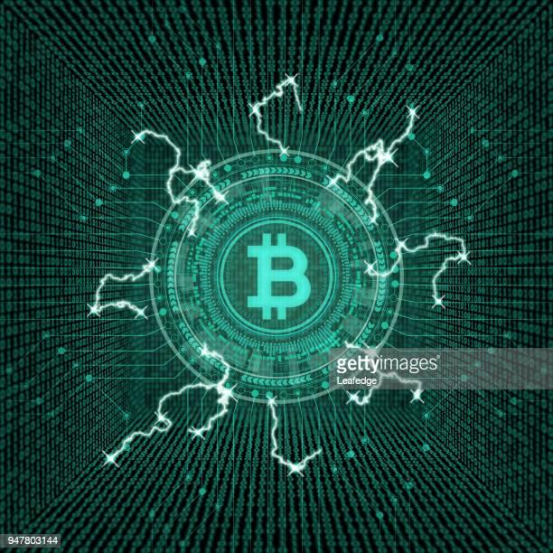kryptowährung konzept [bitcoin im virtuellen raum] - blitzbeleuchtung stock-grafiken, -clipart, -cartoons und -symbole
