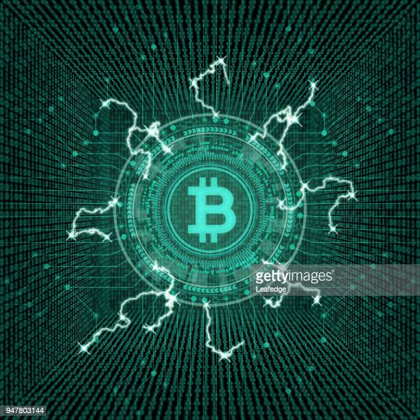 kryptowährung konzept [bitcoin im virtuellen raum] - bitcoin stock-grafiken, -clipart, -cartoons und -symbole