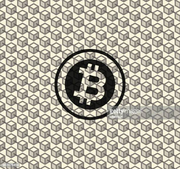 cryptocurrency concept [bitcoin seamless pattern] - financial technology stock illustrations, clip art, cartoons, & icons