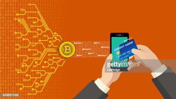 cryptocurrency concept [send bitcoin by credit card] - financial technology stock illustrations, clip art, cartoons, & icons