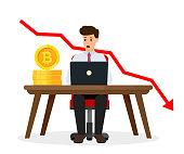 Cryptocurrency crash graph. Bitcoin crypto currency concept. Surprised businessman. Vector illustration isolated on white background.