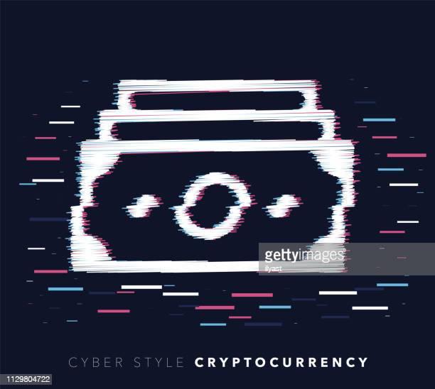 ilustraciones, imágenes clip art, dibujos animados e iconos de stock de cryptocurrency falla efecto vector icono ilustración - impuesto sobre la renta
