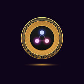 Cryptocurrency golden Coin in Blockchain technology