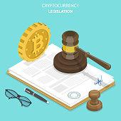 Cryptocurrency legislation flat isometric vector.