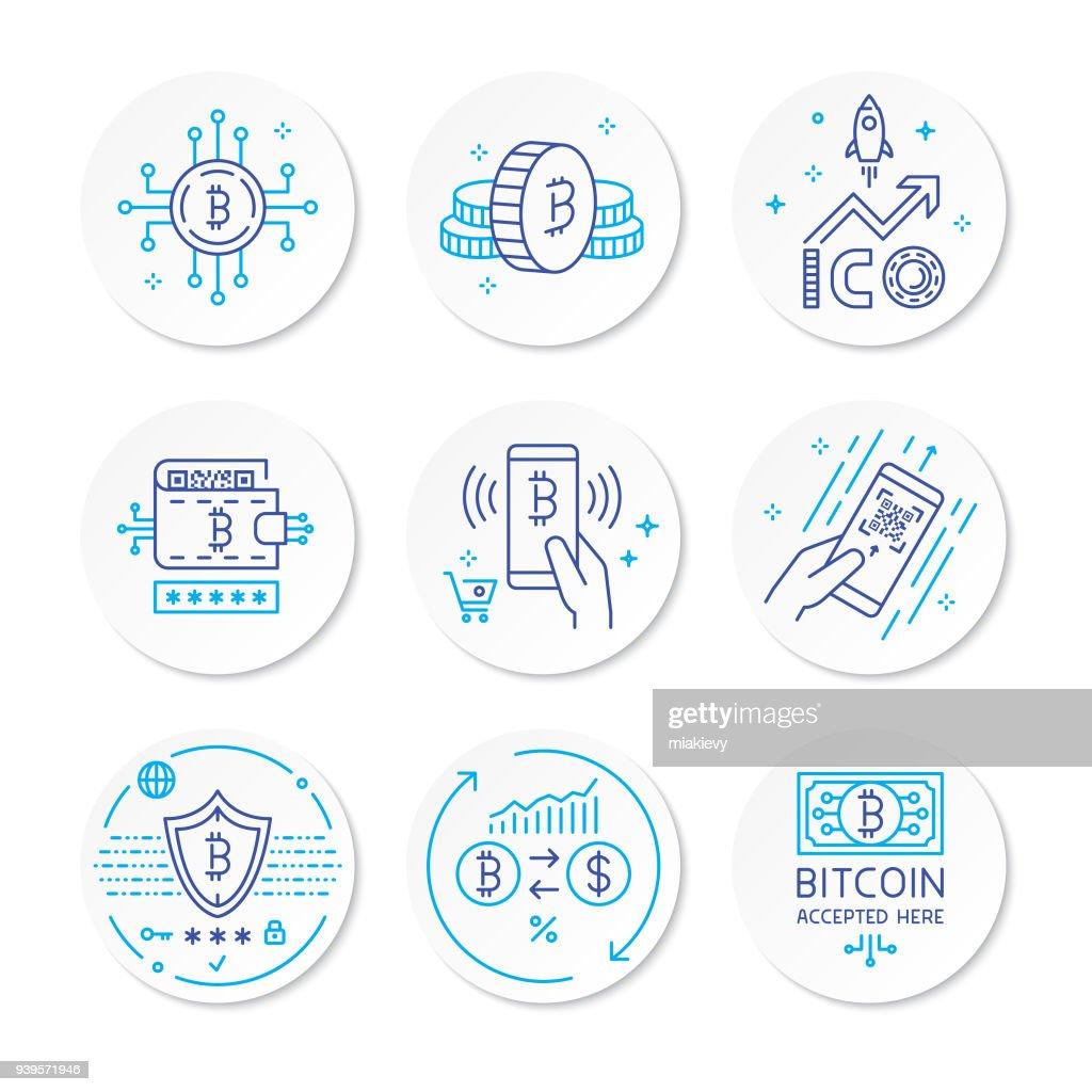 Cryptocurrency ライン アイコン : ストックイラストレーション