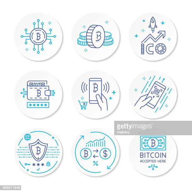 cryptocurrency line icons - cryptocurrency stock illustrations
