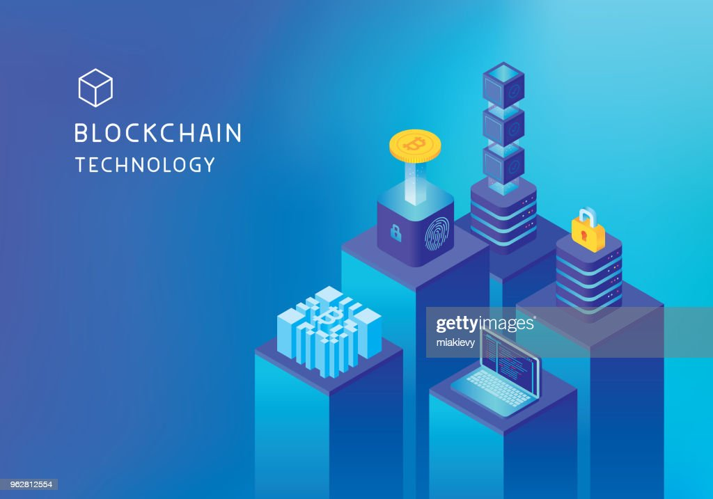 Cryptocurrency マイニング blockchain コンセプト : ストックイラストレーション