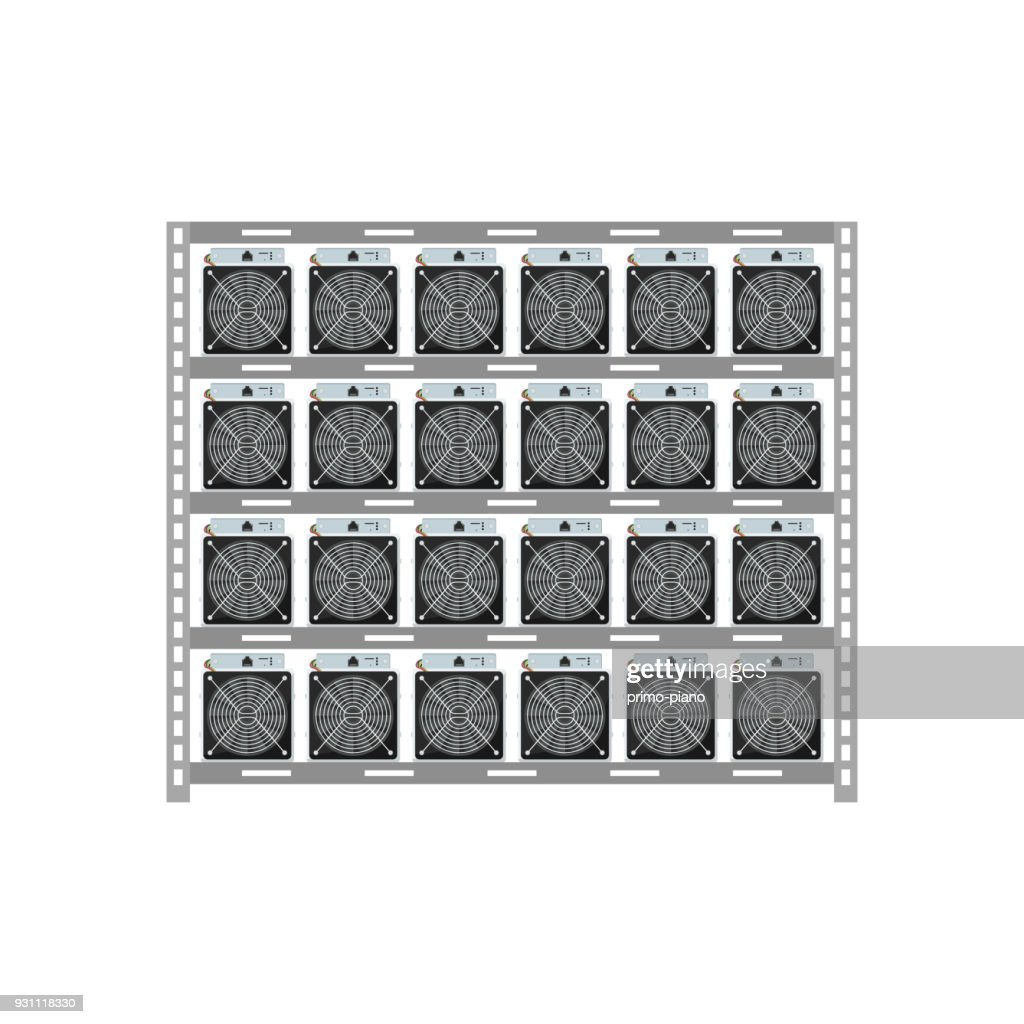 Cryptocurrency mining server rack isolated icon