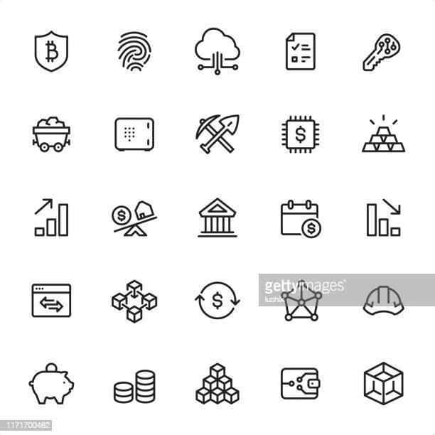 stockillustraties, clipart, cartoons en iconen met cryptogeld-overzicht icon set - blockchain