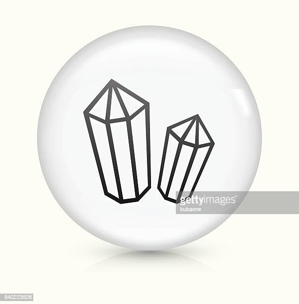 Crystal and Minerals icon on white round vector button