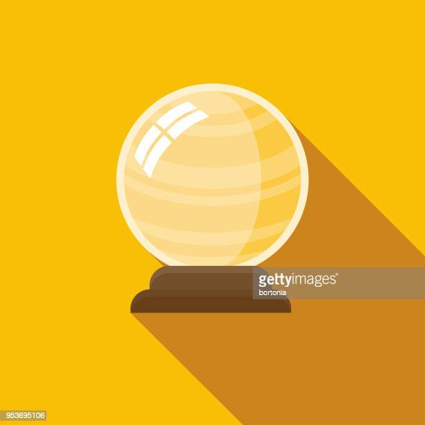crystal ball flat design halloween icon with side shadow - fortune telling stock illustrations