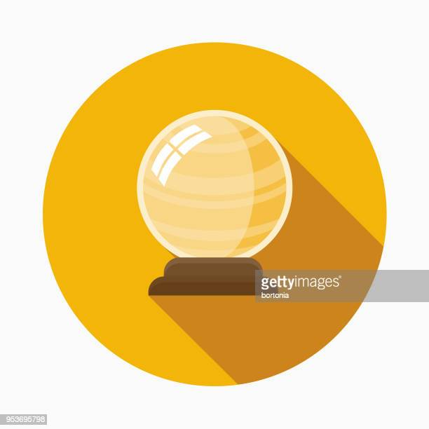 Crystal Ball Flat Design Halloween Icon with Side Shadow
