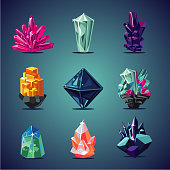 Crystal isolated icons set. Magic stones collection.