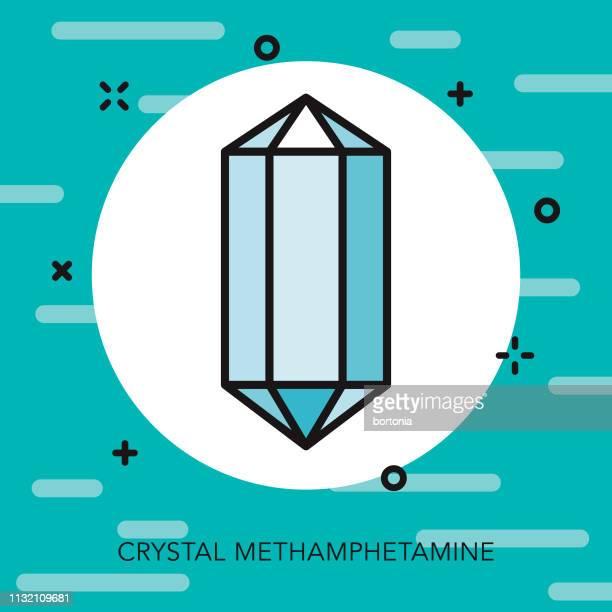 crystal meth drugs thin line icon - methamphetamine stock illustrations, clip art, cartoons, & icons