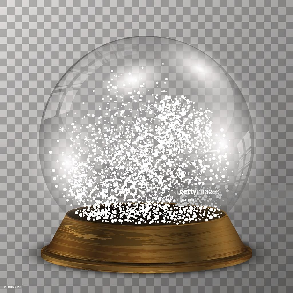 Crystal snow globe on wood stand. Transparent vector snowglobe.