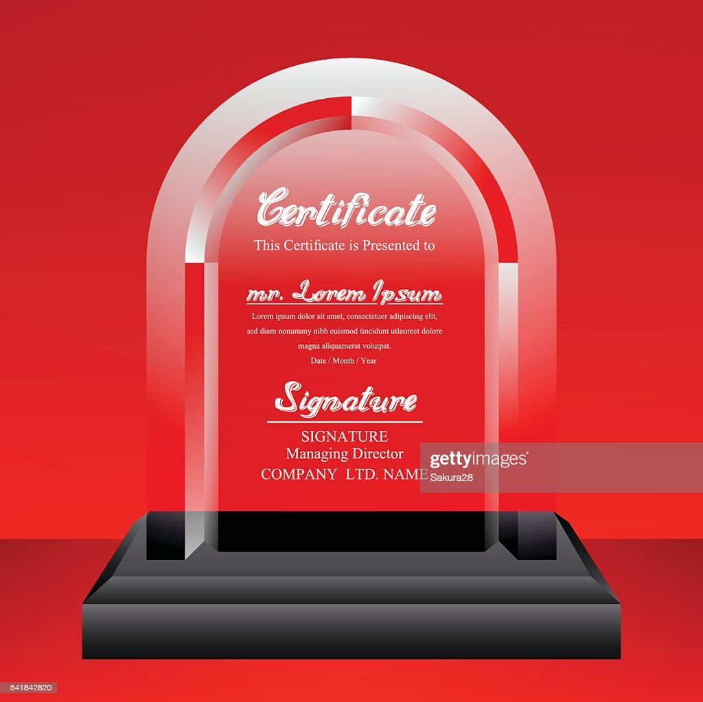 crystal trophy certificate design template on red background vector