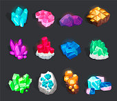 Crystals and minerals set