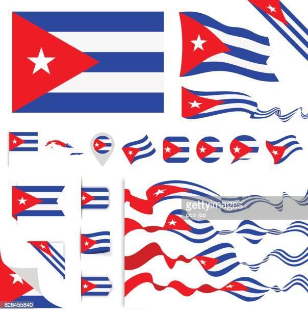 cuba flag set - cuban flag stock illustrations