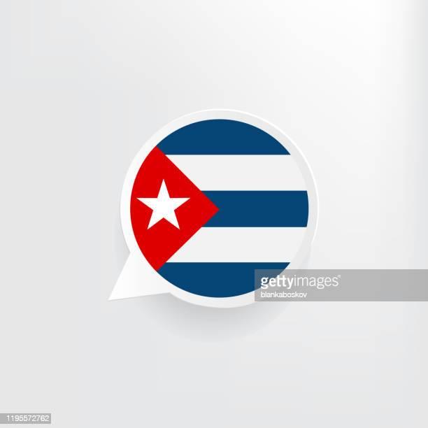 cuba flag speech bubble - cuban flag stock illustrations