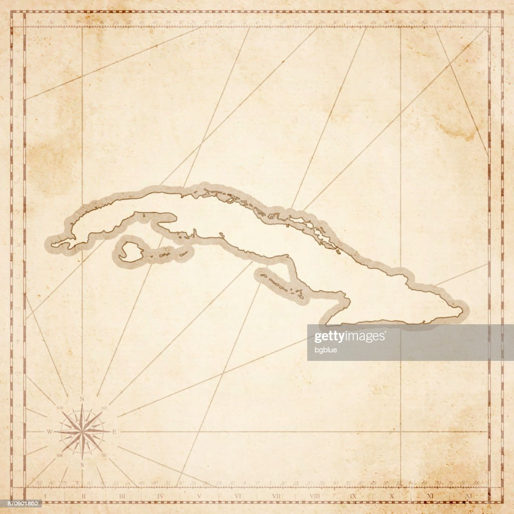 Cuba Map In Retro Vintage Style Old Textured Paper Vector Art - Vintage map of cuba