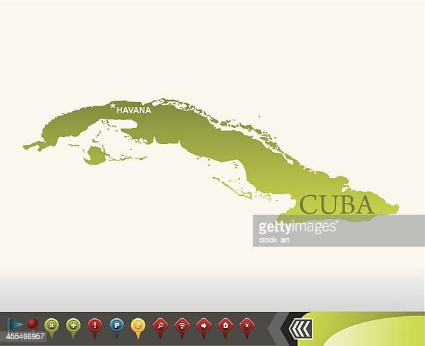 ilustraciones, imágenes clip art, dibujos animados e iconos de stock de cuba con iconos de navegación mapa - países del golfo