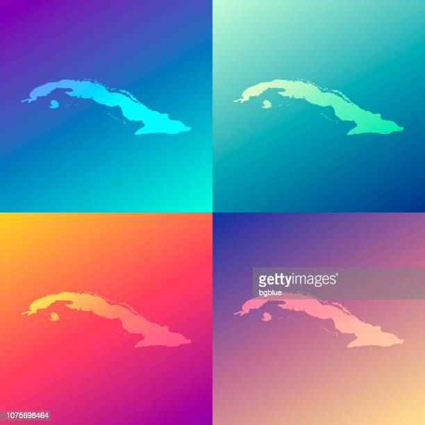 Cuba maps with colorful gradients - Trendy background