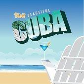 Cuba retro postcard typography on beach background