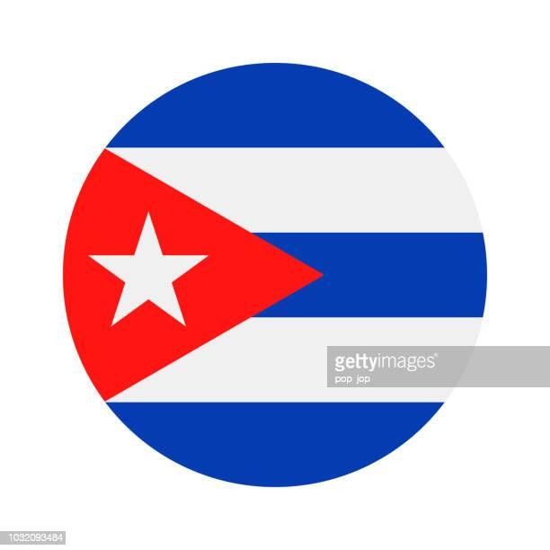 cuba - round flag vector flat icon - cuban flag stock illustrations
