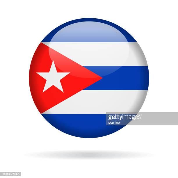 cuba - round flag vector glossy icon - cuban flag stock illustrations