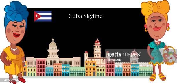 cuba skyline - cuban ethnicity stock illustrations, clip art, cartoons, & icons