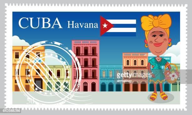 cuba stamp - cuban ethnicity stock illustrations, clip art, cartoons, & icons