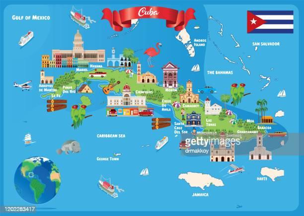 キューバ旅行マップ、ハバナ、サンティアゴデキューバ、カマゲイ、ホルギン、サンタクララ、グアンタナモ、バヤモ、ラストゥナス、シエンフエゴス、ピナールデルリオ、マタンサス、シ� - アンティル諸島点のイラスト素材/クリップアート素材/マンガ素材/アイコン素材