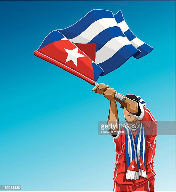 cuba waving flag soccer fan - cuban culture stock illustrations, clip art, cartoons, & icons