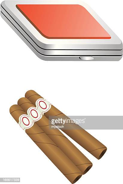 cuban and cigarette box - cuban culture stock illustrations, clip art, cartoons, & icons