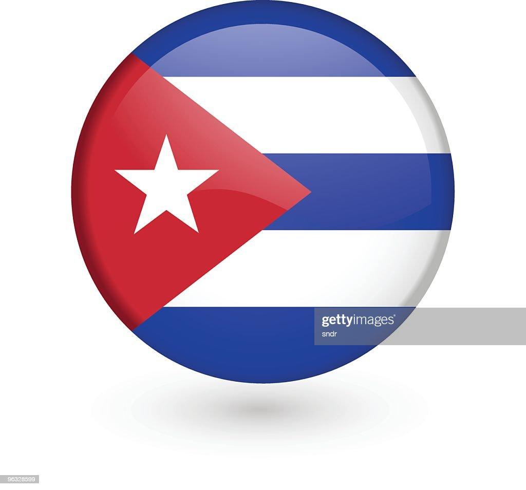 Cuban Flag Vector Button : Vector Art