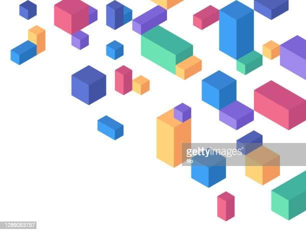キューブ幾何学図形 抽象的な背景 - 荷積み場点のイラスト素材/クリップアート素材/マンガ素材/アイコン素材
