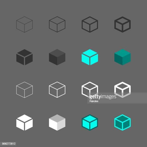 cube icon - multi series - cube stock illustrations