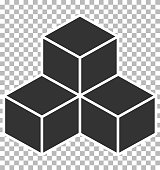 cube icon on transparent background. flat style. black cube sign. cube icon for your web site design, logo, app, UI.
