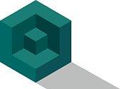 Cube isometric logo brick 3d dice illustration vector block icon
