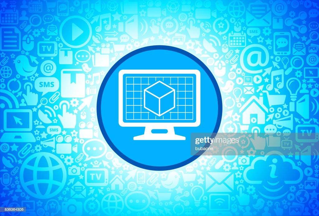 インターネット技術の背景にデスクトップ画面のアイコンを 3 d キューブ