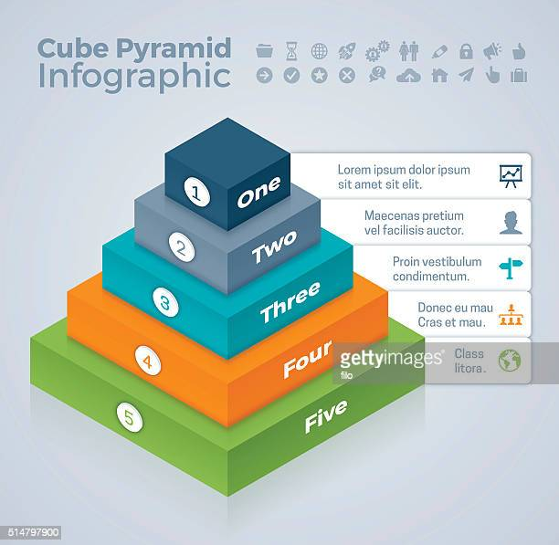 cube pyramid infographic - bloco stock illustrations