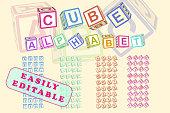 Cube toy alphabet for children.