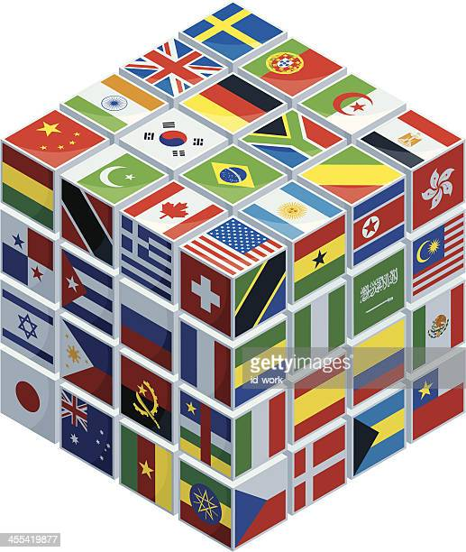 cube with national flags - ghana stock illustrations, clip art, cartoons, & icons