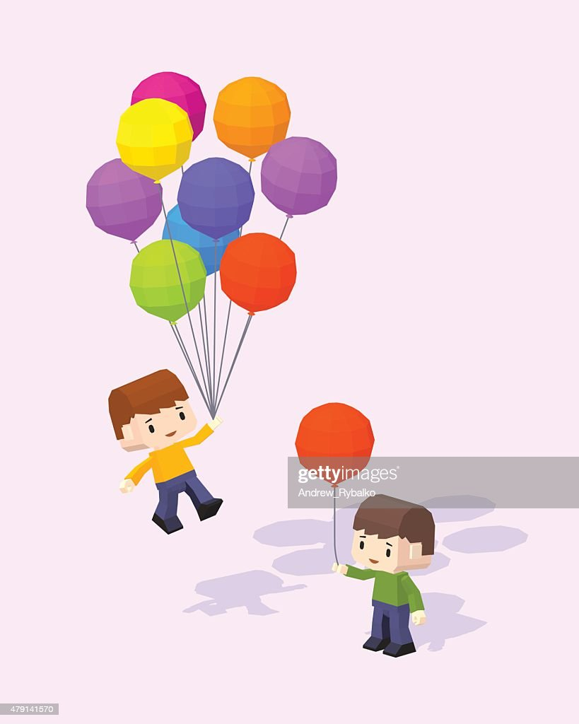 Cube World. Boys with the colored baloons