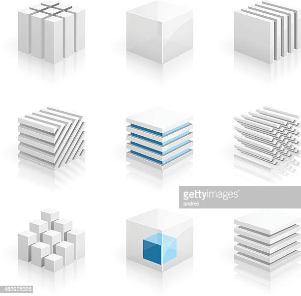 illustrations, cliparts, dessins animés et icônes de cubes 3d series - couches superposées