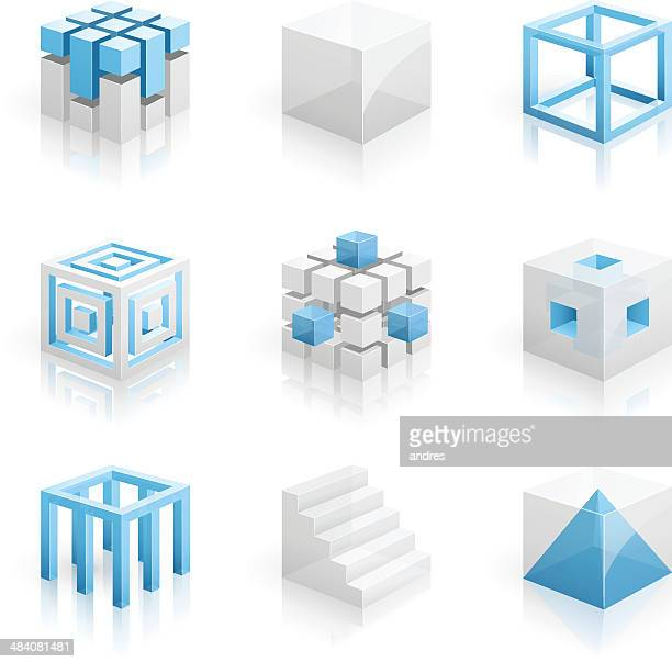 cubes - 3d series - construction frame stock illustrations